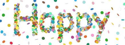 Palavra abstrata dos confetes - letra feliz - vetor colorido do panorama Fotos de Stock