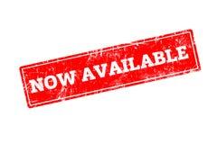 Palavra AGORA DISPONÍVEL escrita no carimbo de borracha vermelho Fotos de Stock Royalty Free