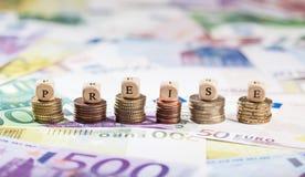 Palavra alemão Preise em pilhas da moeda, fundo do dinheiro Foto de Stock Royalty Free