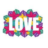 A palavra AMOR com um fundo de verde, rosa, flores exóticas roxas e amarelas e folhas de palmeira ilustração stock