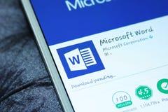 Palavra app móvel do Microsoft Office Fotografia de Stock
