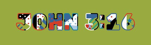 Palavra Art Illustration do conceito do 3:16 de John Fotografia de Stock