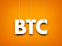A palavra BTC - text a suspensão na corda Foto de Stock