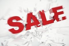 palavra caída venda de 3D Rednering palavra vermelha da venda 3D isolada sobre o fundo branco com terra da quebra Imagens de Stock Royalty Free