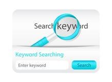 Palavra-chave clara que procurara o formulário com lupa Imagens de Stock