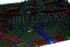 Palavra-chave de inteligente Rendição 3d colorida Structu geométrico ilustração stock