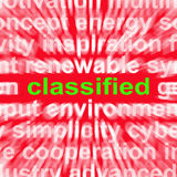 A palavra classificada mostra extremamente secreto ou confidencial Imagens de Stock Royalty Free
