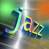 Palavra colorida JAZZ em refletir a placa de alumínio abstrata Conceito da informação da música Imagem de Stock