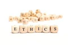 Palavra com éticas dos dados Fotografia de Stock