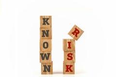 Palavra conhecida do risco escrita na forma do cubo Fotos de Stock Royalty Free