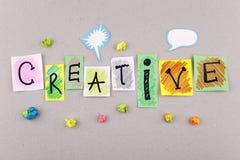 Palavra criativa do negócio para a inspiração da imaginação da faculdade criadora e ideias novas Fotos de Stock Royalty Free