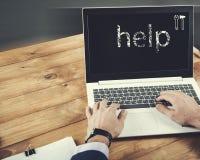 Palavra da ajuda no tela de computador imagens de stock