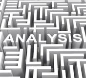A palavra da análise mostra a investigação ou a pesquisa Fotos de Stock