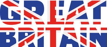 Palavra da bandeira de Reino Unido ilustração stock