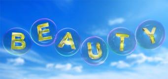 A palavra da beleza na bolha ilustração stock