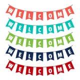 Palavra da boa vinda às bandeiras do partido ilustração royalty free
