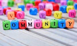 Palavra da comunidade na tabela imagens de stock royalty free