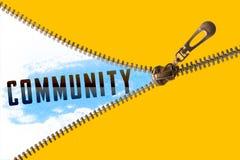 Palavra da comunidade sob o zíper ilustração do vetor