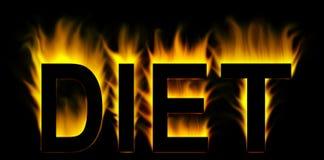 Palavra da dieta no incêndio Foto de Stock