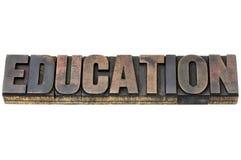 Palavra da educação no tipo de madeira Fotografia de Stock Royalty Free