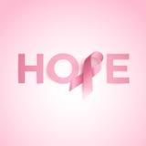 Palavra da esperança com a fita da conscientização do câncer da mama Imagens de Stock Royalty Free