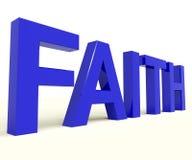 Palavra da fé que mostra a opinião ou a confiança espiritual Fotos de Stock