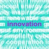 A palavra da inovação mostra a criação da originalidade Fotos de Stock Royalty Free
