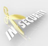 A palavra da insegurança Scissors o corte da proteção segura da segurança Imagens de Stock Royalty Free