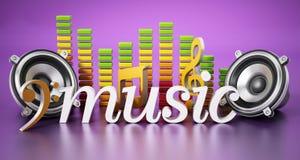 Palavra da música, oradores, notas da música e equalizador ilustração 3D ilustração royalty free