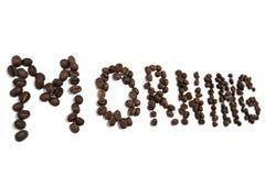 Palavra da manhã feita de feijões de café Imagem de Stock