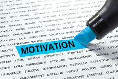 Palavra da motivação destacada com marcador fotos de stock royalty free