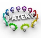 Palavra da patente cercada por ampolas ilustração stock