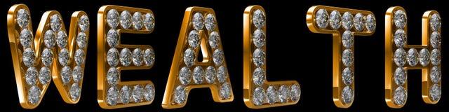 Palavra da riqueza incrusted com diamantes Fotos de Stock Royalty Free