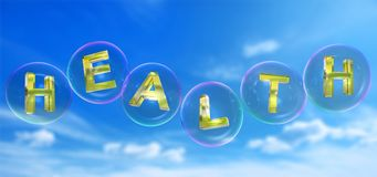 A palavra da saúde na bolha ilustração do vetor