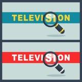 Palavra da televisão com conceito da lente de aumento Fotografia de Stock