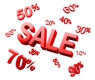 Palavra da venda com ícones do disconto Imagem de Stock