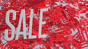 palavra da venda 3d branca no fundo vermelho com sombra rendição 3d Fotos de Stock