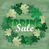 Palavra da venda da mola nas folhas Ilustração do vetor Imagem de Stock
