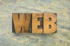 Palavra da Web no tipo de madeira Fotografia de Stock Royalty Free