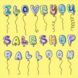 Palavra dada forma dos balões ilustração stock
