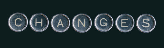 A palavra das mudanças feita com botões fotografia de stock