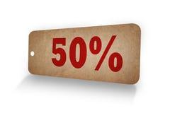 palavra de 50% no Tag de papel retro Fotos de Stock Royalty Free