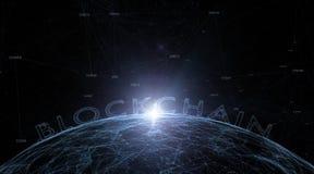 Palavra de Blockchain no fundo abstrato da esfera imagens de stock royalty free