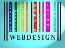 Palavra de Webdesign no código de barras colorido Imagem de Stock Royalty Free