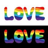 A palavra do amor consiste nos elementos Letras principais com rainbo Fotografia de Stock Royalty Free