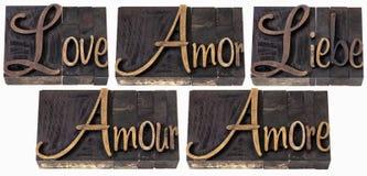 Palavra do amor em 5 línguas Imagens de Stock Royalty Free