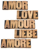 Palavra do amor em 5 línguas Fotografia de Stock Royalty Free