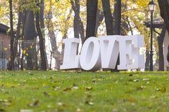 Palavra do amor na grama Imagens de Stock