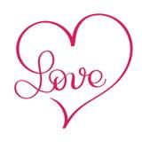 Palavra do amor no coração vermelho Caligrafia do vetor e EPS10 da rotulação ilustração do vetor