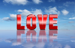 Palavra do amor sobre o fundo do céu Imagens de Stock Royalty Free